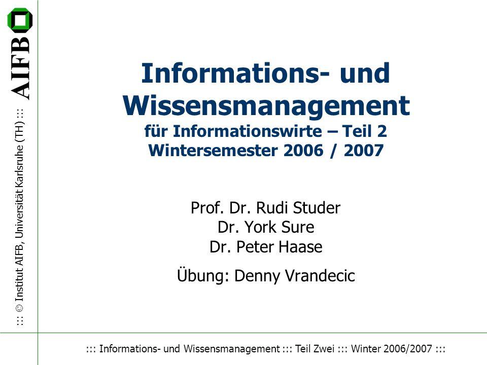::: IWM ::: Winter 2006 / 2007 ::: Institut AIFB, Universität Karlsruhe (TH) ::: 2 Termine n WM-Teil –Vorlesung: –Mittwoch, 14:00 – 15:30 Uhr (ab 20.