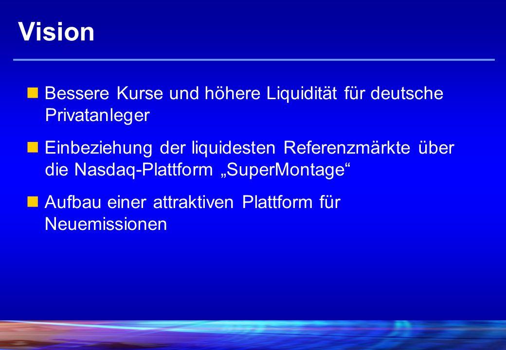 Vision Bessere Kurse und höhere Liquidität für deutsche Privatanleger Einbeziehung der liquidesten Referenzmärkte über die Nasdaq-Plattform SuperMontage Aufbau einer attraktiven Plattform für Neuemissionen