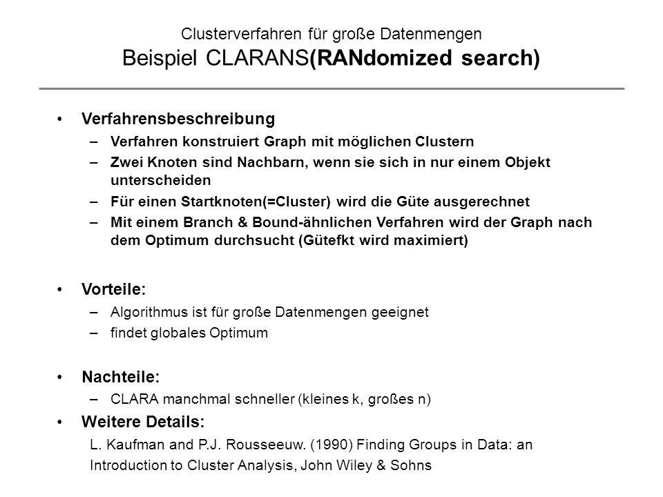 Clusterverfahren für große Datenmengen Beispiel CLARANS(RANdomized search) Verfahrensbeschreibung –Verfahren konstruiert Graph mit möglichen Clustern