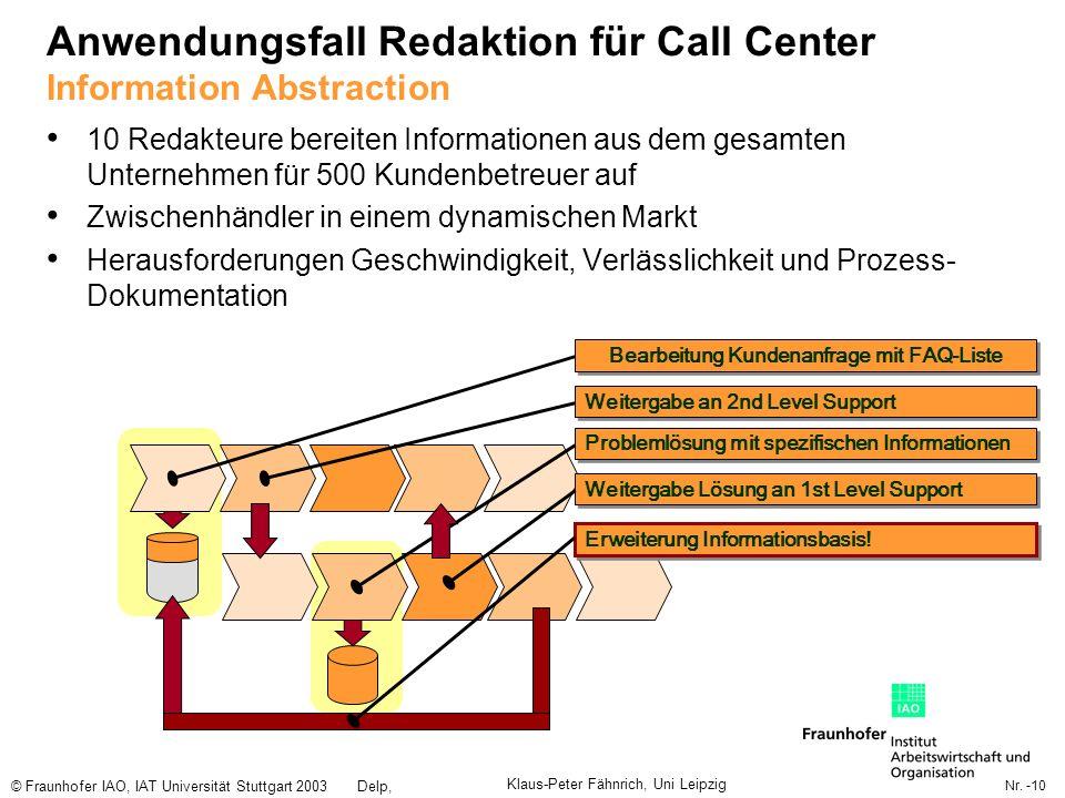 Nr. -10 © Fraunhofer IAO, IAT Universität Stuttgart 2003Delp, Engelbach Anwendungsfall Redaktion für Call Center Information Abstraction 10 Redakteure
