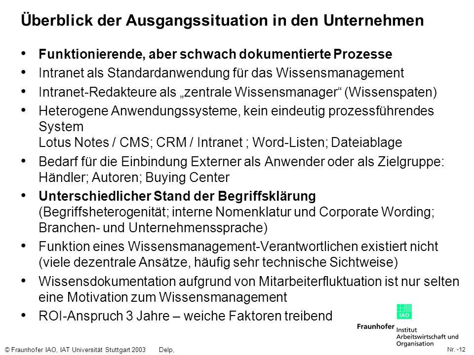 Nr. -12 © Fraunhofer IAO, IAT Universität Stuttgart 2003Delp, Engelbach Überblick der Ausgangssituation in den Unternehmen Funktionierende, aber schwa