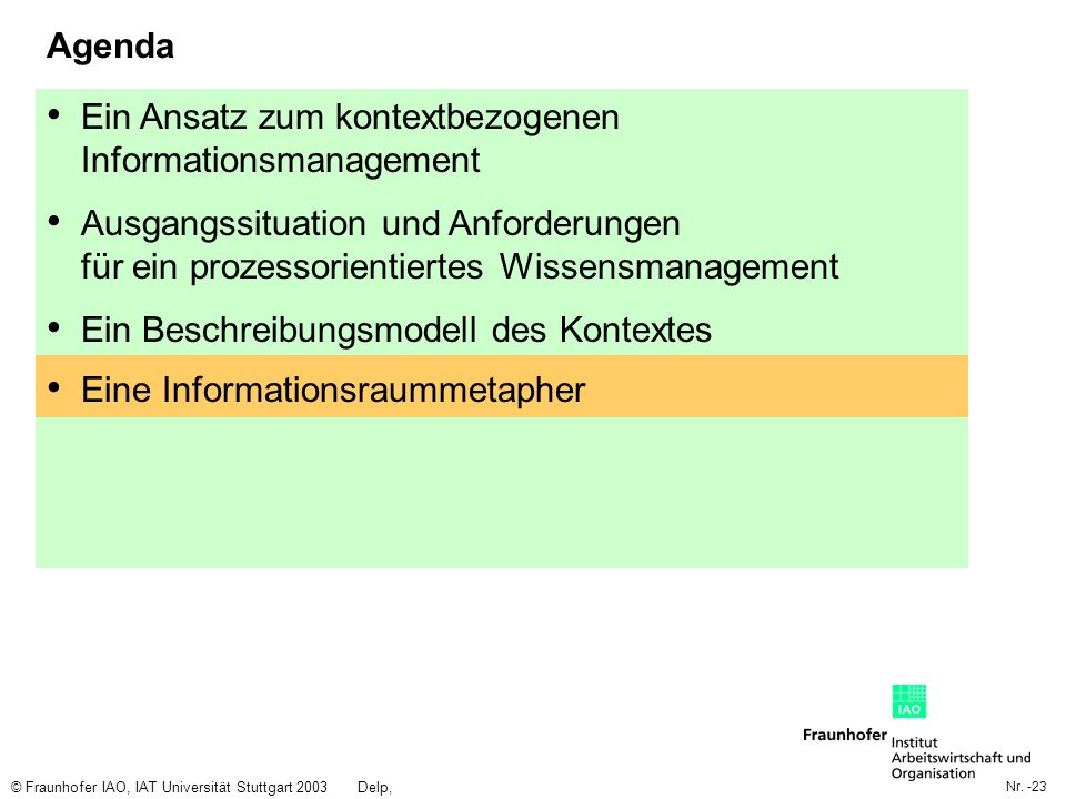 Nr. -23 © Fraunhofer IAO, IAT Universität Stuttgart 2003Delp, Engelbach Agenda Ein Ansatz zum kontextbezogenen Informationsmanagement Ausgangssituatio