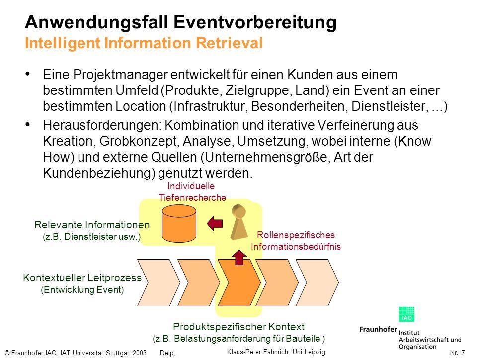 Nr. -7 © Fraunhofer IAO, IAT Universität Stuttgart 2003Delp, Engelbach Anwendungsfall Eventvorbereitung Intelligent Information Retrieval Eine Projekt