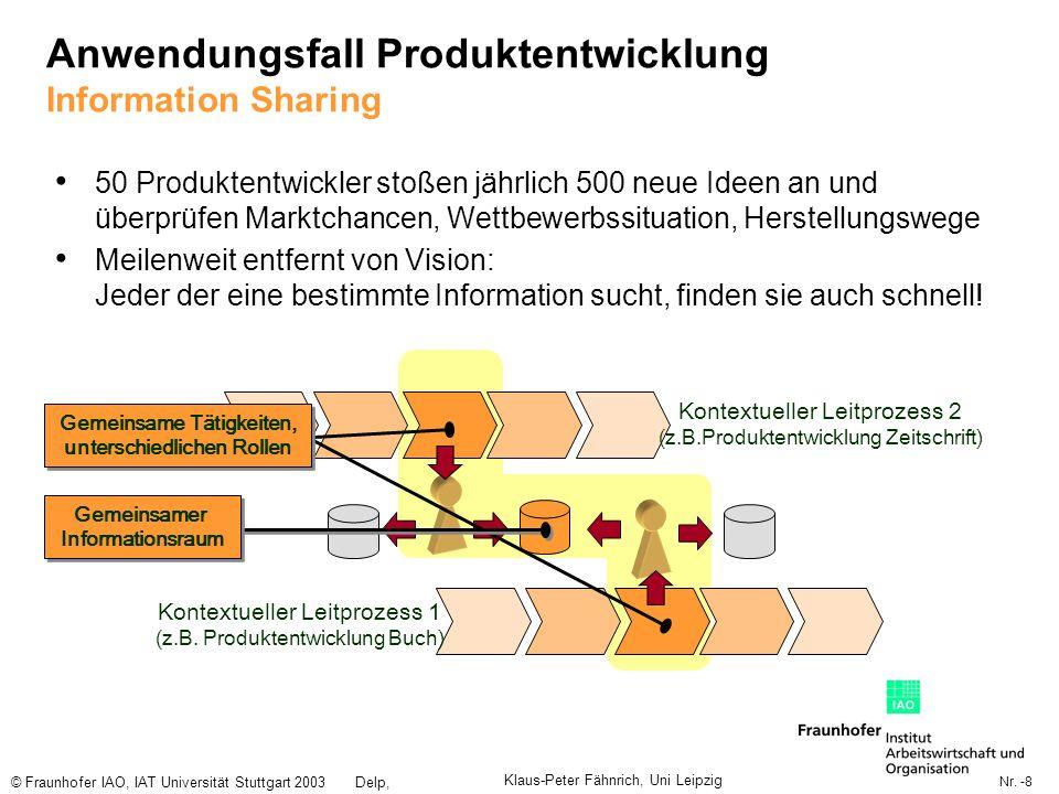 Nr. -8 © Fraunhofer IAO, IAT Universität Stuttgart 2003Delp, Engelbach Anwendungsfall Produktentwicklung Information Sharing 50 Produktentwickler stoß
