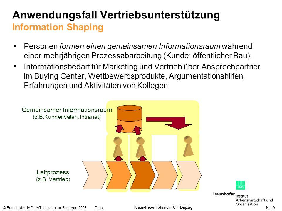 Nr. -9 © Fraunhofer IAO, IAT Universität Stuttgart 2003Delp, Engelbach Gemeinsamer Informationsraum (z.B.Kundendaten, Intranet) Anwendungsfall Vertrie