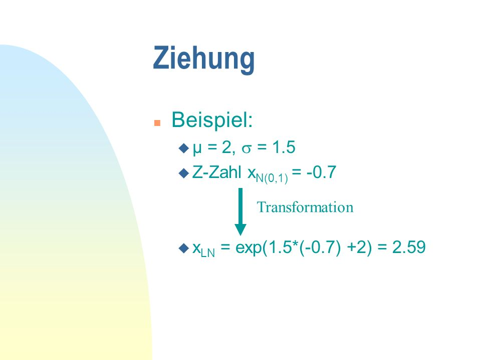Ziehung n Beispiel: u µ = 2, = 1.5 u Z-Zahl x N(0,1) = -0.7 Transformation u x LN = exp(1.5*(-0.7) +2) = 2.59