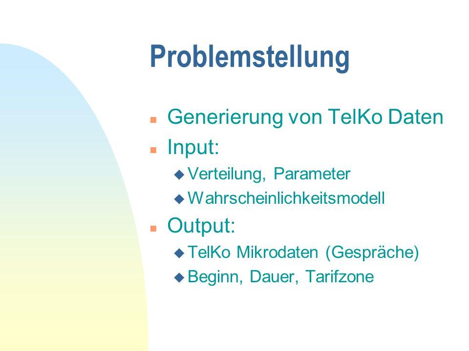 Problemstellung n Generierung von TelKo Daten n Input: u Verteilung, Parameter u Wahrscheinlichkeitsmodell n Output: u TelKo Mikrodaten (Gespräche) u Beginn, Dauer, Tarifzone