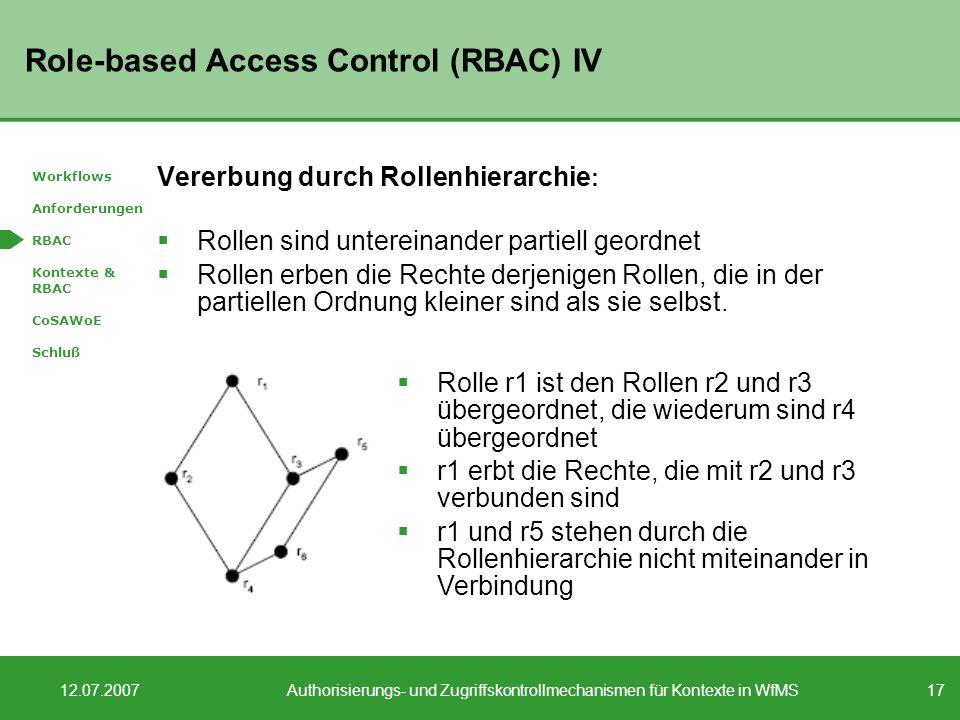 17 12.07.2007Authorisierungs- und Zugriffskontrollmechanismen für Kontexte in WfMS Role-based Access Control (RBAC) IV Vererbung durch Rollenhierarchie : Rollen sind untereinander partiell geordnet Rollen erben die Rechte derjenigen Rollen, die in der partiellen Ordnung kleiner sind als sie selbst.