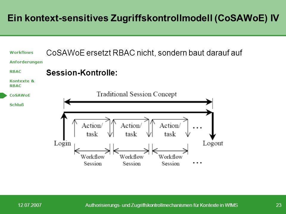 23 12.07.2007Authorisierungs- und Zugriffskontrollmechanismen für Kontexte in WfMS Ein kontext-sensitives Zugriffskontrollmodell (CoSAWoE) IV CoSAWoE