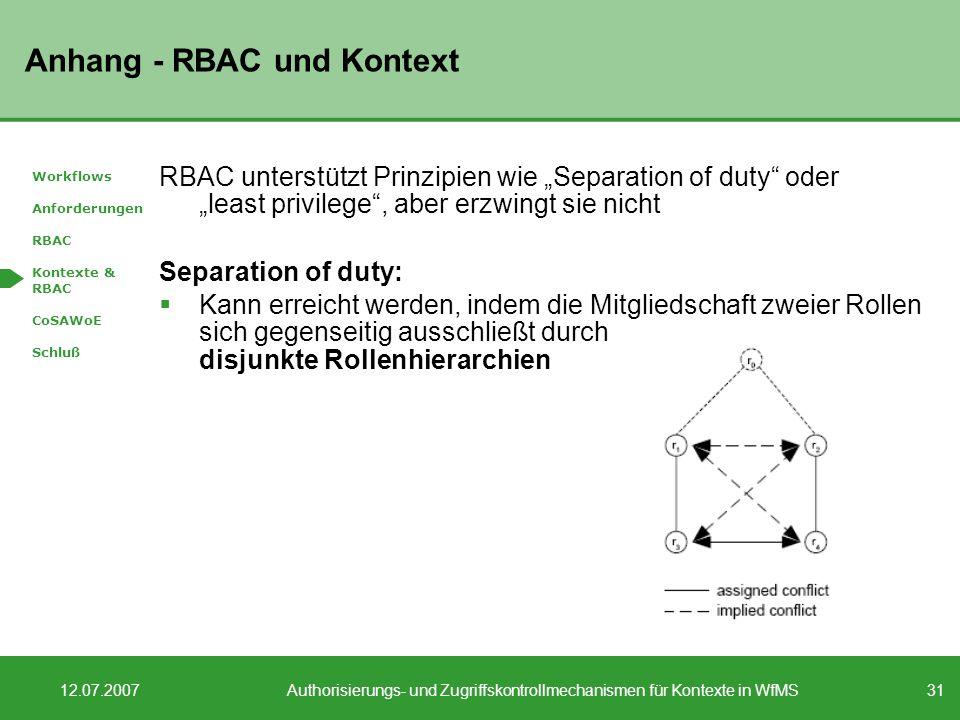 31 12.07.2007Authorisierungs- und Zugriffskontrollmechanismen für Kontexte in WfMS Anhang - RBAC und Kontext RBAC unterstützt Prinzipien wie Separation of duty oder least privilege, aber erzwingt sie nicht Separation of duty: Kann erreicht werden, indem die Mitgliedschaft zweier Rollen sich gegenseitig ausschließt durch disjunkte Rollenhierarchien Workflows Anforderungen RBAC Kontexte & RBAC CoSAWoE Schluß