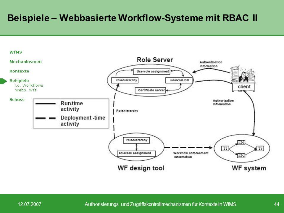44 12.07.2007Authorisierungs- und Zugriffskontrollmechanismen für Kontexte in WfMS Beispiele – Webbasierte Workflow-Systeme mit RBAC II WfMS Mechaninsmen Kontexte Beispiele i.o.