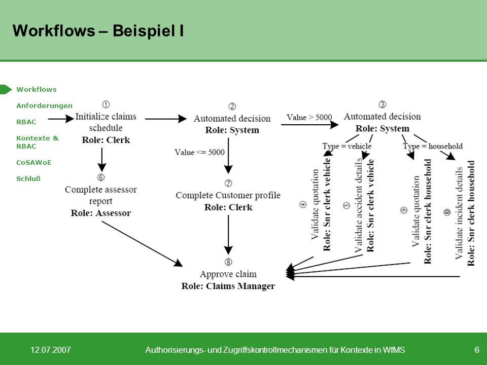 6 12.07.2007Authorisierungs- und Zugriffskontrollmechanismen für Kontexte in WfMS Workflows – Beispiel I Workflows Anforderungen RBAC Kontexte & RBAC CoSAWoE Schluß
