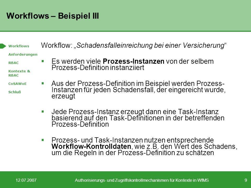 9 12.07.2007Authorisierungs- und Zugriffskontrollmechanismen für Kontexte in WfMS Workflows – Beispiel III Workflow: Schadensfalleinreichung bei einer