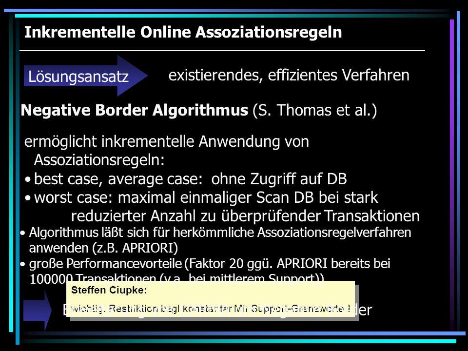 Inkrementelle Online Assoziationsregeln Negative Border Algorithmus (S. Thomas et al.) ermöglicht inkrementelle Anwendung von Assoziationsregeln: best