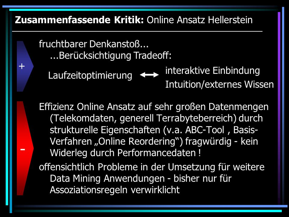 Zusammenfassende Kritik: Online Ansatz Hellerstein Effizienz Online Ansatz auf sehr großen Datenmengen (Telekomdaten, generell Terrabyteberreich) durc