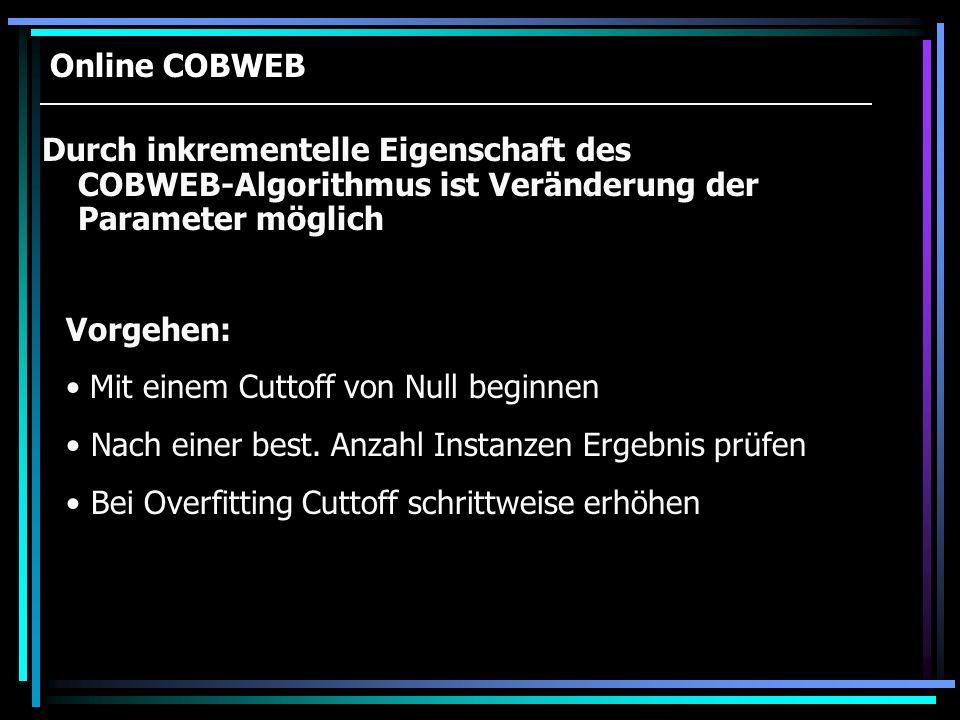 Online COBWEB Durch inkrementelle Eigenschaft des COBWEB-Algorithmus ist Veränderung der Parameter möglich Vorgehen: Mit einem Cuttoff von Null beginn
