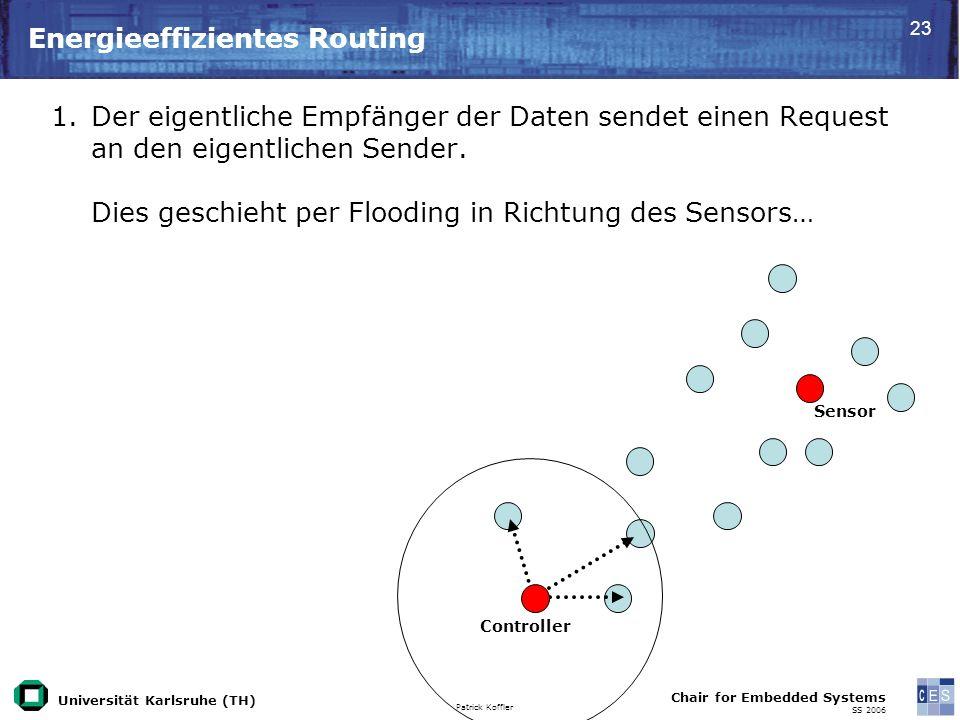 Universität Karlsruhe (TH) Patrick Koffler Chair for Embedded Systems SS 2006 23 Energieeffizientes Routing Controller Sensor 1.Der eigentliche Empfänger der Daten sendet einen Request an den eigentlichen Sender.