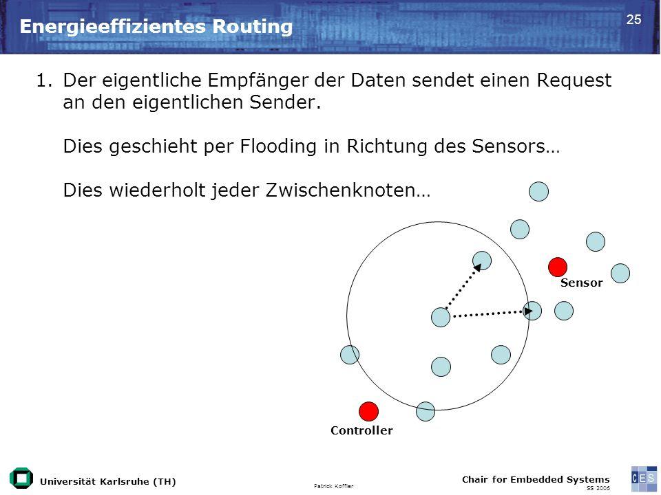 Universität Karlsruhe (TH) Patrick Koffler Chair for Embedded Systems SS 2006 25 Energieeffizientes Routing Controller Sensor 1.Der eigentliche Empfänger der Daten sendet einen Request an den eigentlichen Sender.