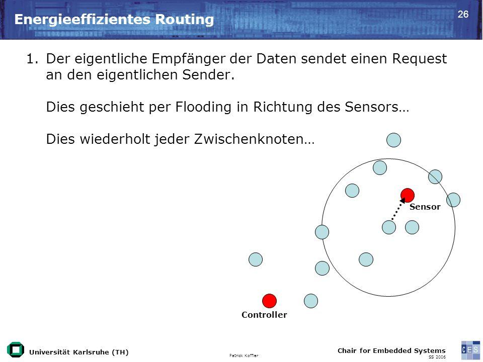 Universität Karlsruhe (TH) Patrick Koffler Chair for Embedded Systems SS 2006 26 Energieeffizientes Routing Controller Sensor 1.Der eigentliche Empfänger der Daten sendet einen Request an den eigentlichen Sender.