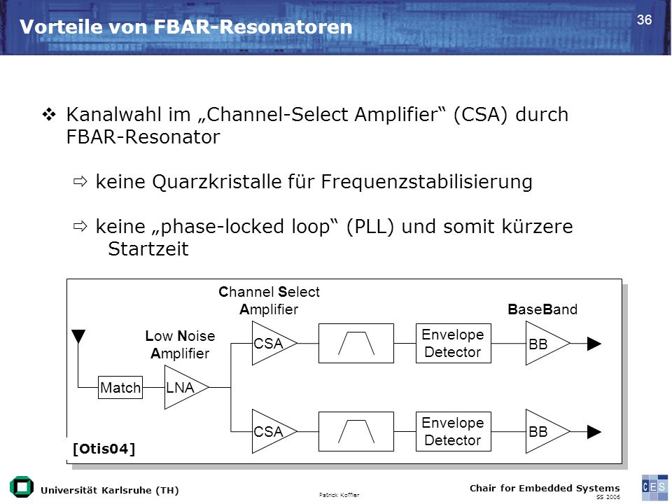 Universität Karlsruhe (TH) Patrick Koffler Chair for Embedded Systems SS Vorteile von FBAR-Resonatoren Kanalwahl im Channel-Select Amplifier (CSA) durch FBAR-Resonator keine Quarzkristalle für Frequenzstabilisierung keine phase-locked loop (PLL) und somit kürzere Startzeit Match Envelope Detector Envelope Detector Low Noise Amplifier LNA CSA BB Channel Select Amplifier BaseBand [Otis04]