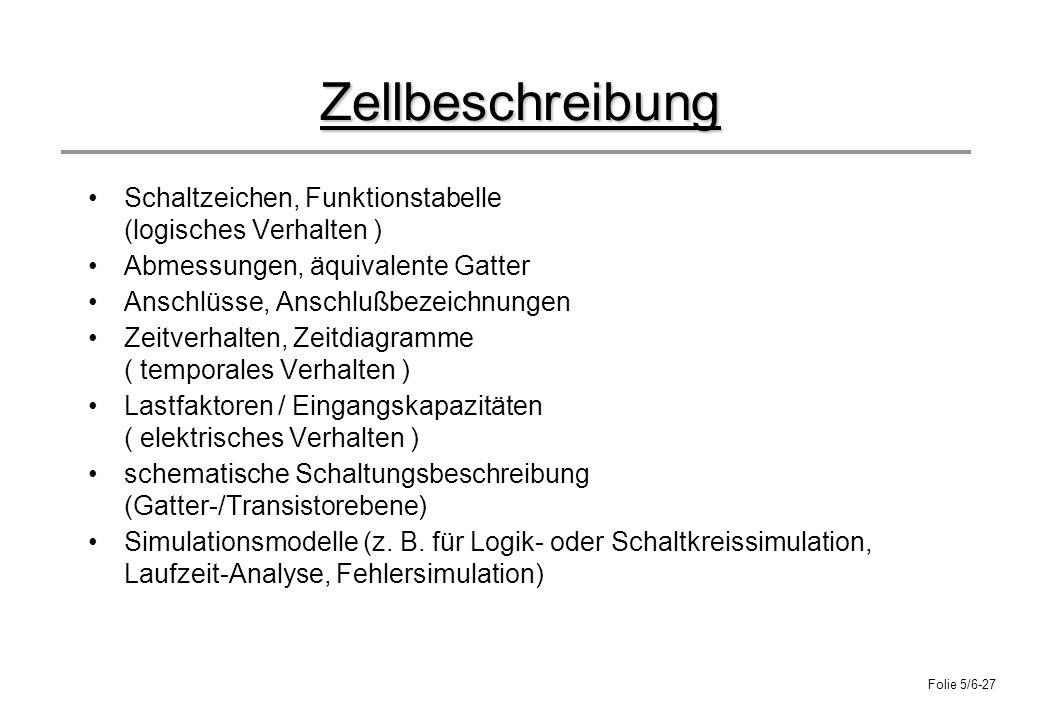 Folie 5/6-27 Zellbeschreibung Schaltzeichen, Funktionstabelle (logisches Verhalten ) Abmessungen, äquivalente Gatter Anschlüsse, Anschlußbezeichnungen