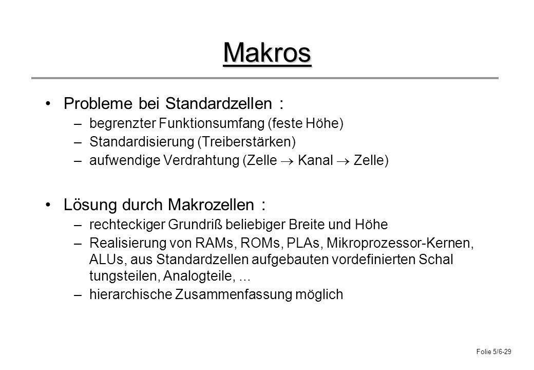 Folie 5/6-29 Makros Probleme bei Standardzellen : –begrenzter Funktionsumfang (feste Höhe) –Standardisierung (Treiberstärken) –aufwendige Verdrahtung
