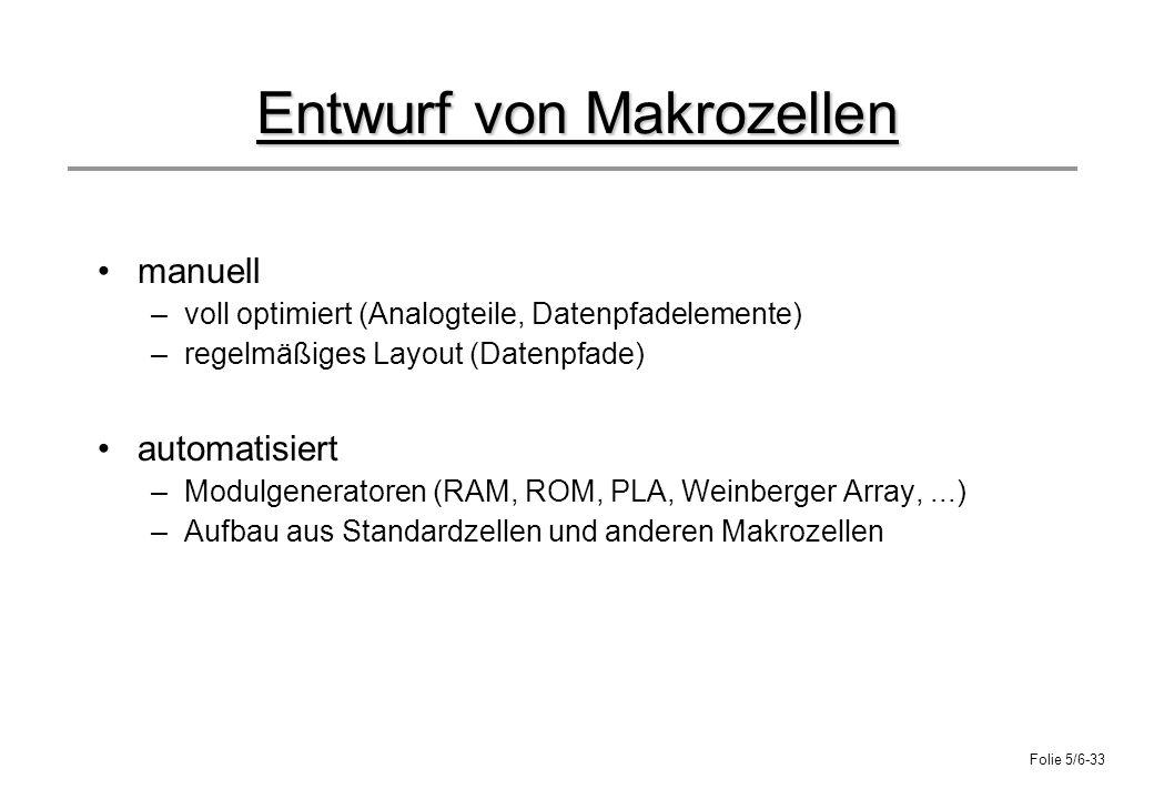 Folie 5/6-33 Entwurf von Makrozellen manuell –voll optimiert (Analogteile, Datenpfadelemente) –regelmäßiges Layout (Datenpfade) automatisiert –Modulge