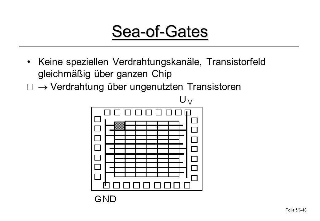 Folie 5/6-46 Sea-of-Gates Keine speziellen Verdrahtungskanäle, Transistorfeld gleichmäßig über ganzen Chip Verdrahtung über ungenutzten Transistoren