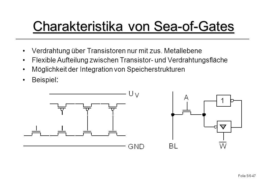 Folie 5/6-47 Charakteristika von Sea-of-Gates Verdrahtung über Transistoren nur mit zus. Metallebene Flexible Aufteilung zwischen Transistor- und Verd