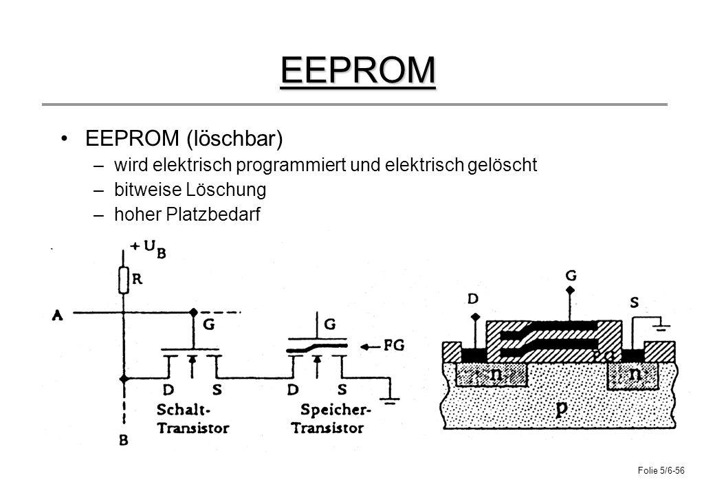 Folie 5/6-56 EEPROM EEPROM (löschbar) –wird elektrisch programmiert und elektrisch gelöscht –bitweise Löschung –hoher Platzbedarf