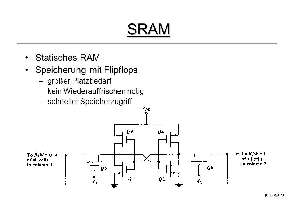 Folie 5/6-58 SRAM Statisches RAM Speicherung mit Flipflops –großer Platzbedarf –kein Wiederauffrischen nötig –schneller Speicherzugriff