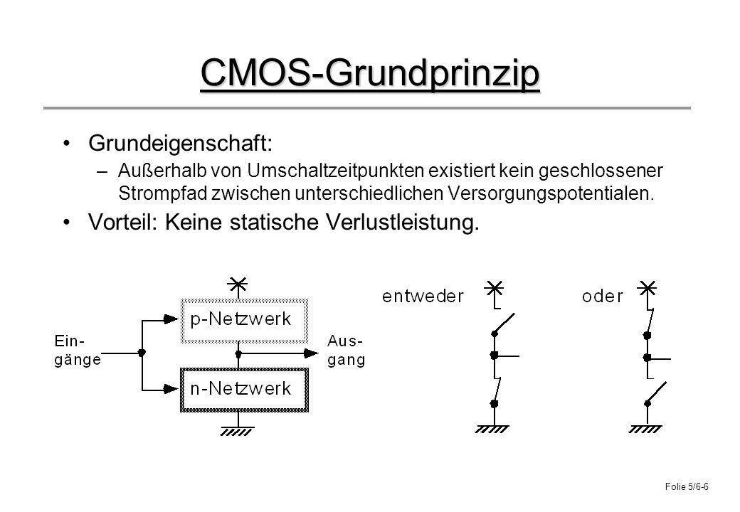 Folie 5/6-6 CMOS-Grundprinzip Grundeigenschaft: –Außerhalb von Umschaltzeitpunkten existiert kein geschlossener Strompfad zwischen unterschiedlichen V