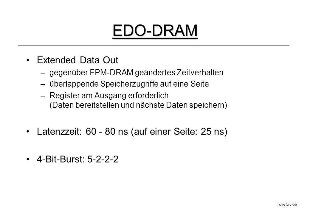 Folie 5/6-66 EDO-DRAM Extended Data Out –gegenüber FPM-DRAM geändertes Zeitverhalten –überlappende Speicherzugriffe auf eine Seite –Register am Ausgan
