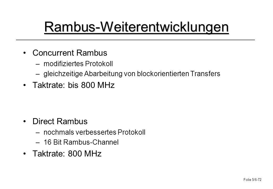 Folie 5/6-72 Rambus-Weiterentwicklungen Concurrent Rambus –modifiziertes Protokoll –gleichzeitige Abarbeitung von blockorientierten Transfers Taktrate