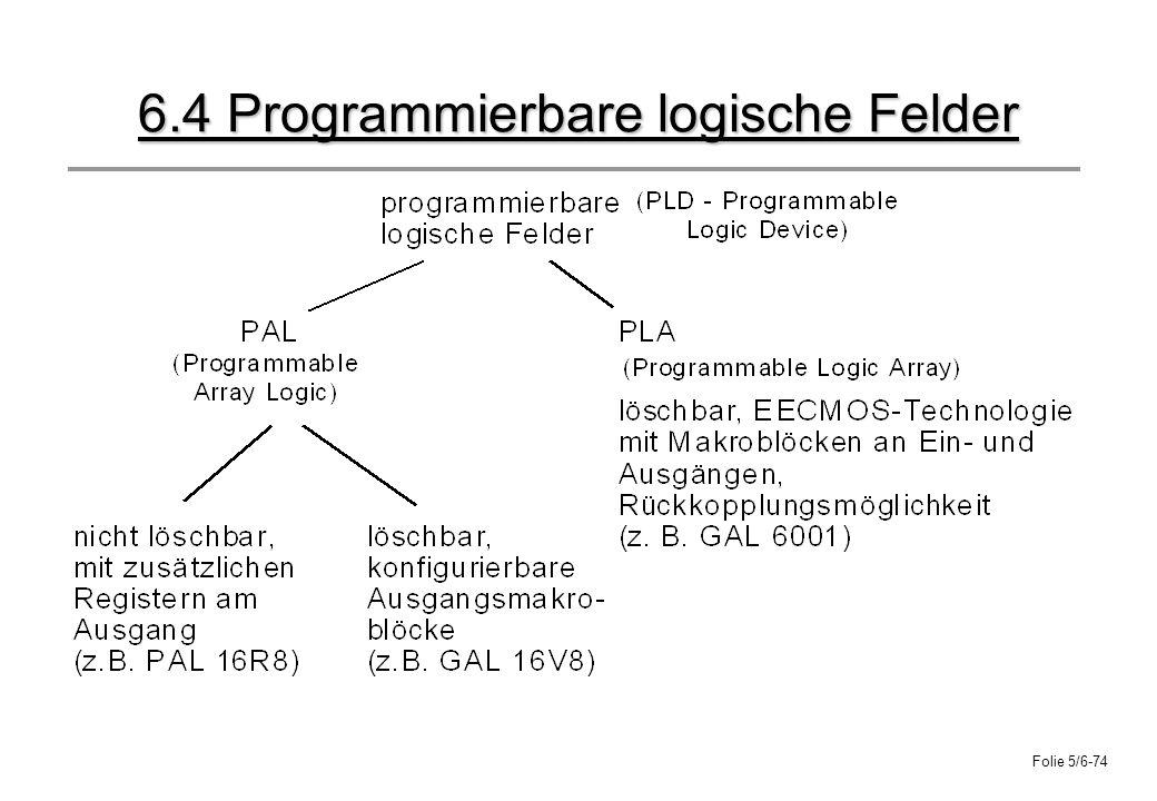 Folie 5/6-74 6.4 Programmierbare logische Felder
