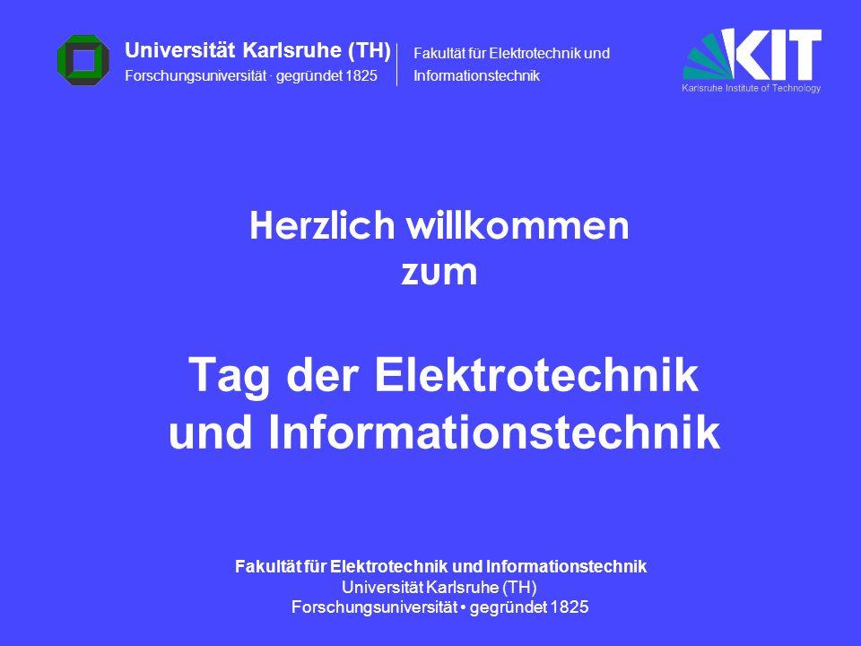 12 Fakultät für Elektrotechnik und Informationstechnik Universität Karlsruhe (TH) Forschungsuniversität gegründet 1825 12 Ernennungen Einen Ruf an die Universität Karlsruhe, Fakultät für Elektrotechnik und Informationstechnik, hat angenommen: Prof.