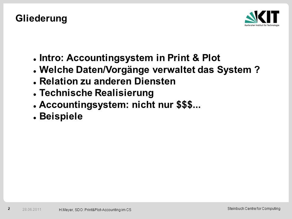 2Steinbuch Centre for Computing H.Meyer, SDO: Print&Plot-Accounting im CS Gliederung 28.06.2011 Intro: Accountingsystem in Print & Plot Welche Daten/Vorgänge verwaltet das System .