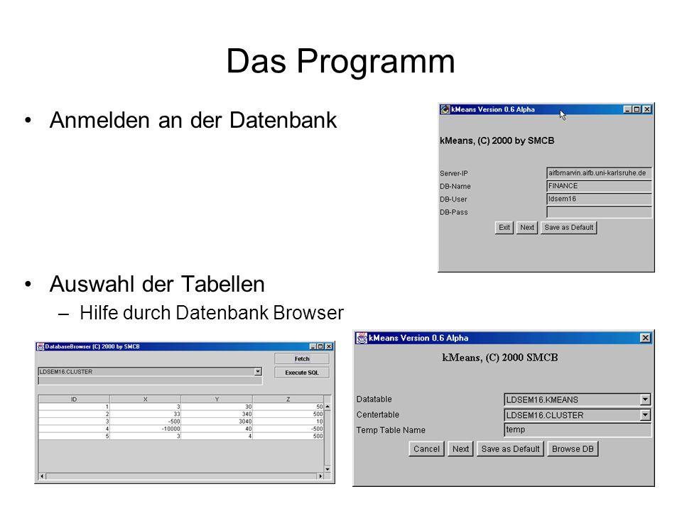 Das Programm Auswahl der Spalten Temporäre Tabelle erstellen Gewünschten Algorithmus starten –Cursor Interface = Standard Version –ohne CI => Optimierte SQL Abfrage Ergebnis