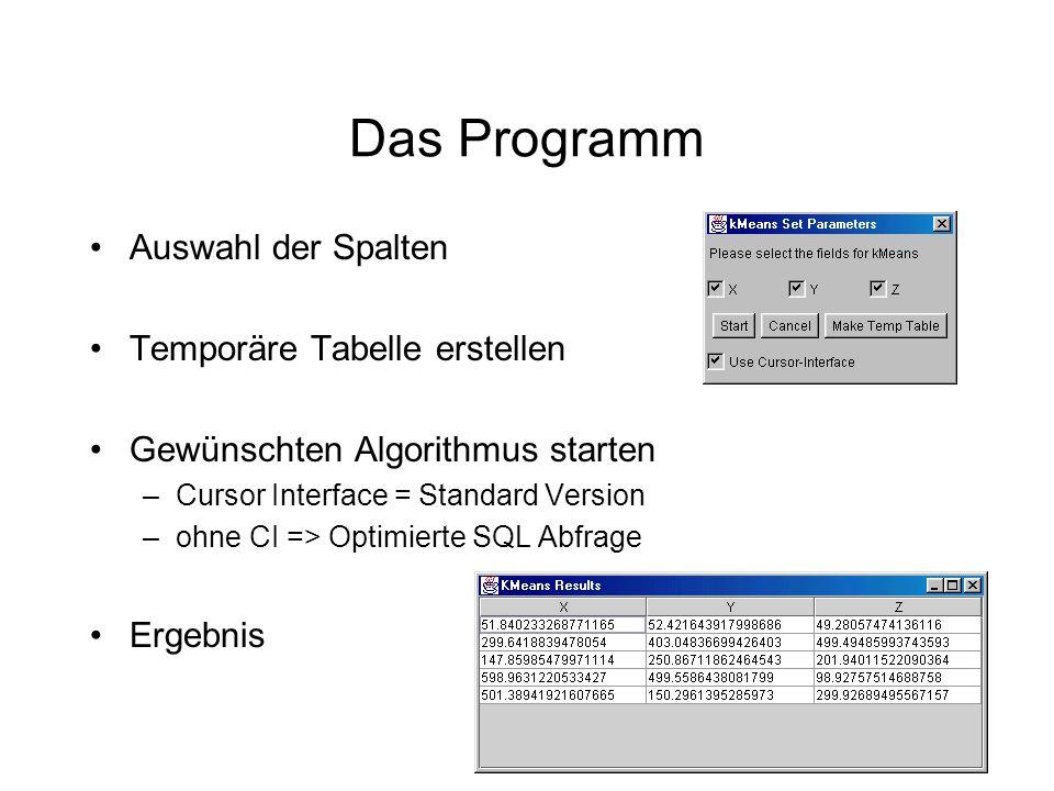 Ergebnisse Testlauf mit 1000 Datensätzen und 3 Dimensionen Anbindung an die Datenbank über ISDN Beispiel Daten :