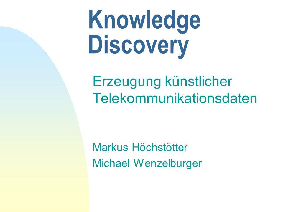 Knowledge Discovery Erzeugung künstlicher Telekommunikationsdaten Markus Höchstötter Michael Wenzelburger