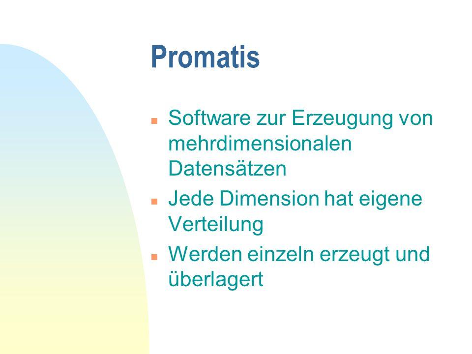 Promatis n Software zur Erzeugung von mehrdimensionalen Datensätzen n Jede Dimension hat eigene Verteilung n Werden einzeln erzeugt und überlagert