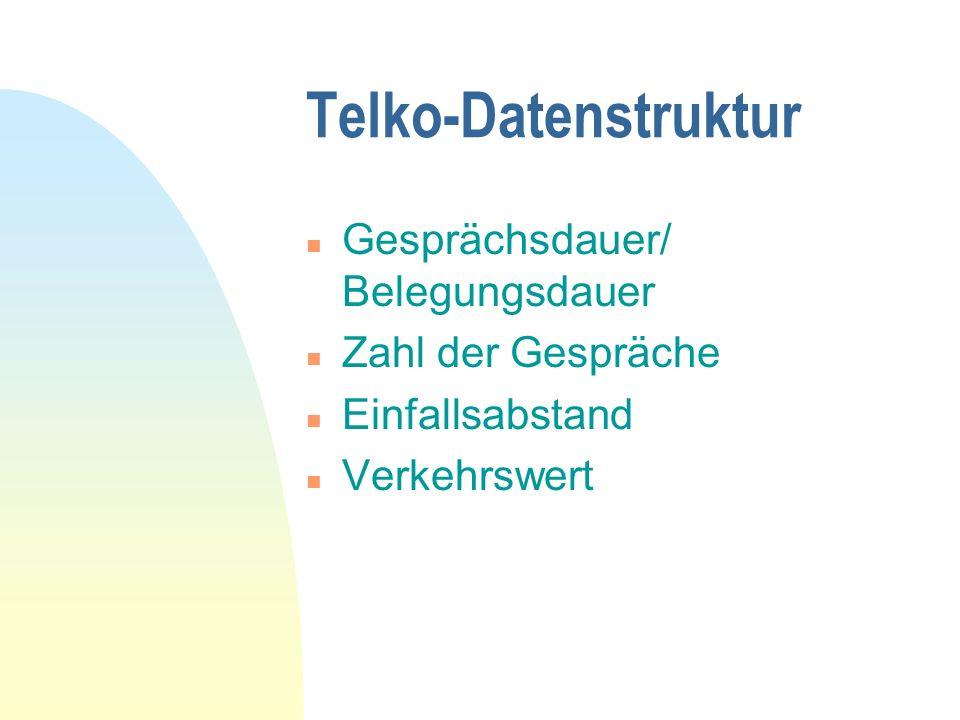 Telko-Datenstruktur n Gesprächsdauer/ Belegungsdauer n Zahl der Gespräche n Einfallsabstand n Verkehrswert