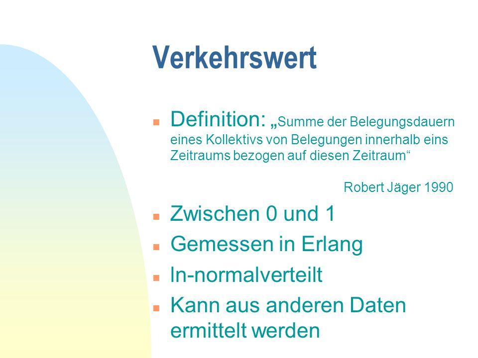 Verkehrswert n Definition: Summe der Belegungsdauern eines Kollektivs von Belegungen innerhalb eins Zeitraums bezogen auf diesen Zeitraum Robert Jäger