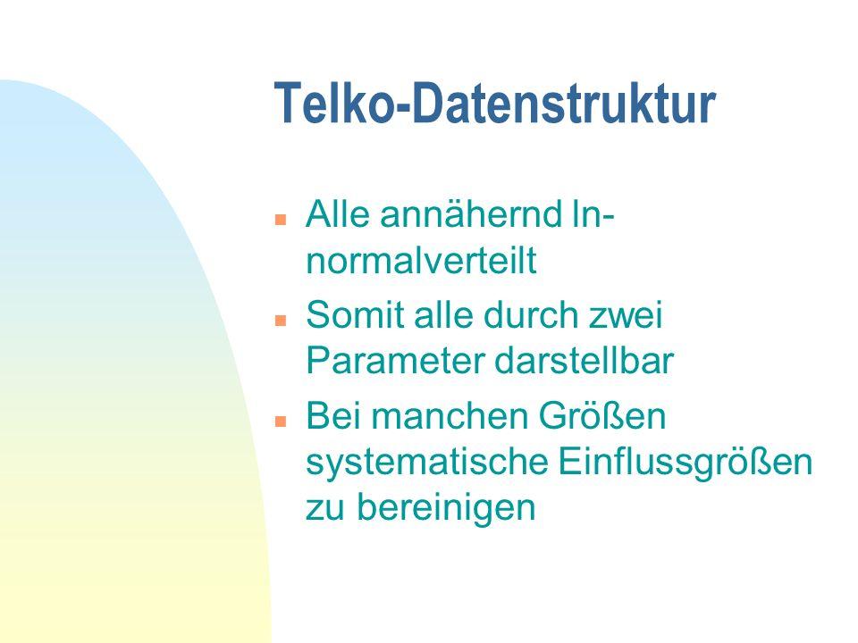 Telko-Datenstruktur n Alle annähernd ln- normalverteilt n Somit alle durch zwei Parameter darstellbar n Bei manchen Größen systematische Einflussgröße