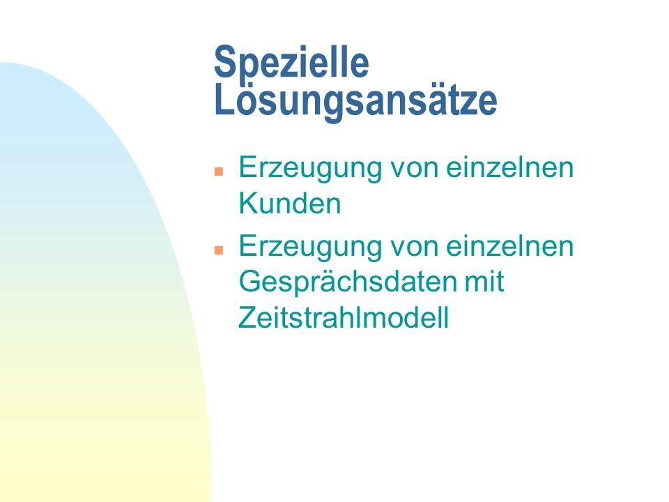 Spezielle Lösungsansätze n Erzeugung von einzelnen Kunden n Erzeugung von einzelnen Gesprächsdaten mit Zeitstrahlmodell