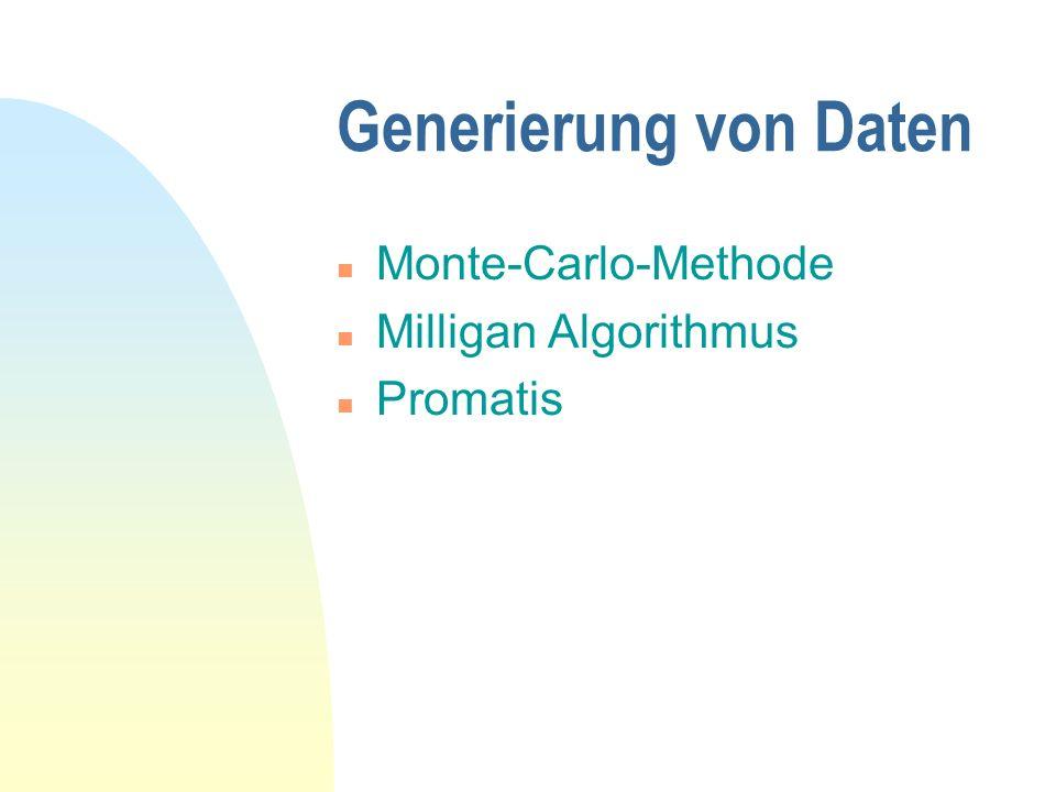 Generierung von Daten n Monte-Carlo-Methode n Milligan Algorithmus n Promatis
