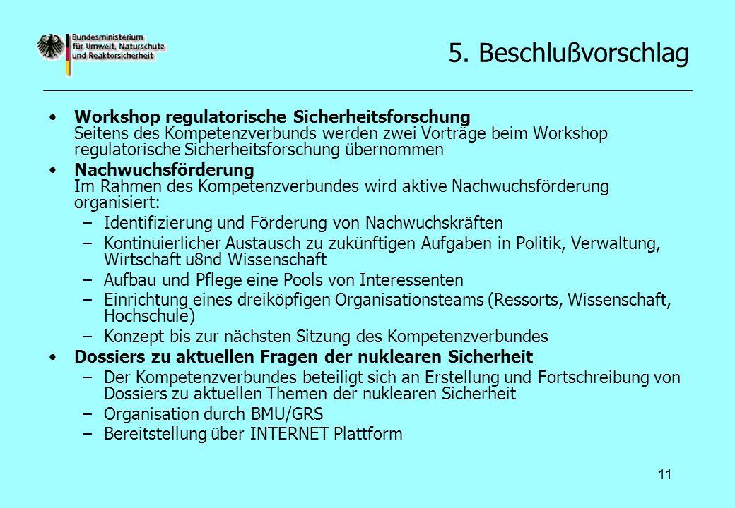 11 5. Beschlußvorschlag Workshop regulatorische Sicherheitsforschung Seitens des Kompetenzverbunds werden zwei Vorträge beim Workshop regulatorische S