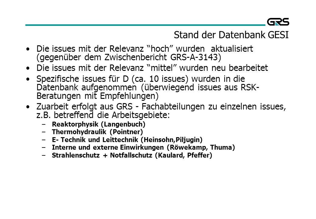 Stand der Datenbank GESI Die issues mit der Relevanz hoch wurden aktualisiert (gegenüber dem Zwischenbericht GRS-A-3143) Die issues mit der Relevanz mittel wurden neu bearbeitet Spezifische issues für D (ca.
