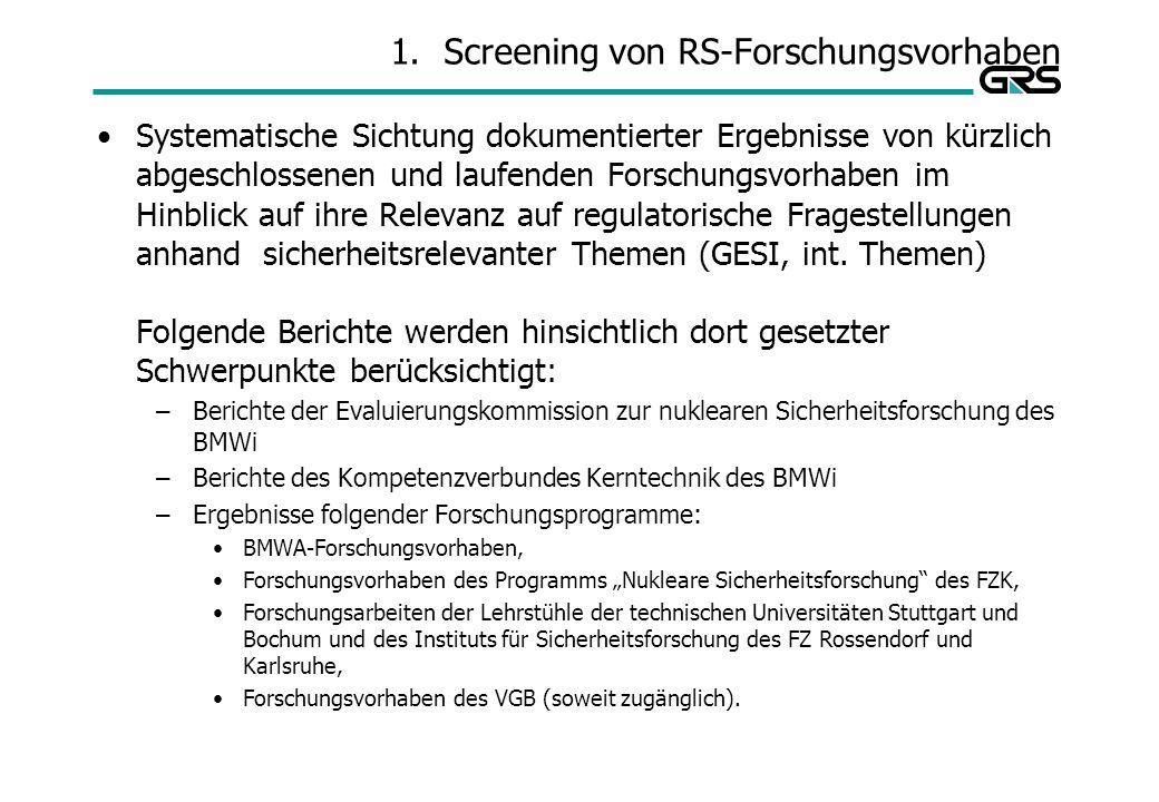 1.Screening von RS-Forschungsvorhaben Systematische Sichtung dokumentierter Ergebnisse von kürzlich abgeschlossenen und laufenden Forschungsvorhaben im Hinblick auf ihre Relevanz auf regulatorische Fragestellungen anhand sicherheitsrelevanter Themen (GESI, int.