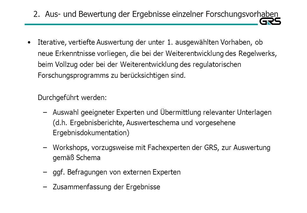 2.Aus- und Bewertung der Ergebnisse einzelner Forschungsvorhaben Iterative, vertiefte Auswertung der unter 1.